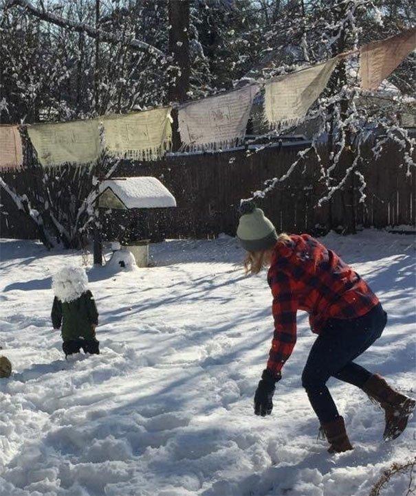 Снежный человечек необычно, неожиданно, нужный момент, увлекательно, удачные снимки, фото, фотографии, фотографы