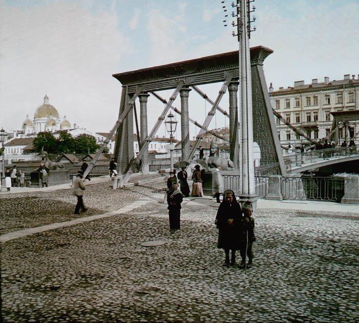Египетский мост. Санкт-Петербург, 1896 г. история, прошлое, фото