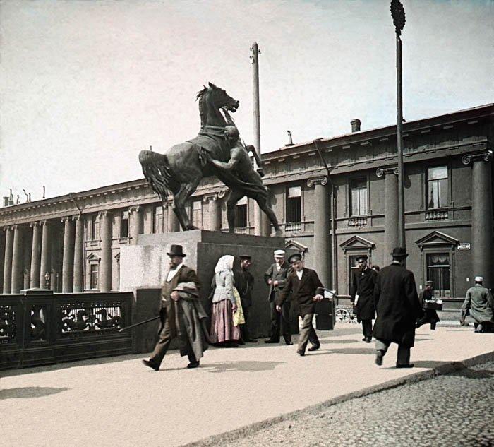 Аничков мост. Санкт-Петербург, 1896 г. история, прошлое, фото