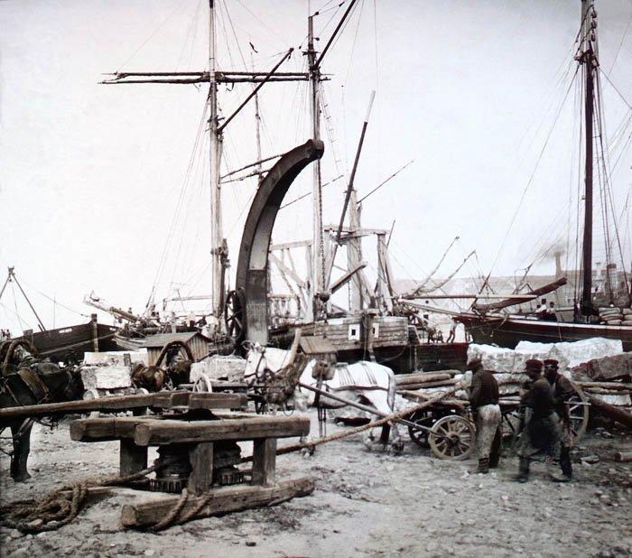 В порту Санкт-Петербурга, 1896 г. история, прошлое, фото