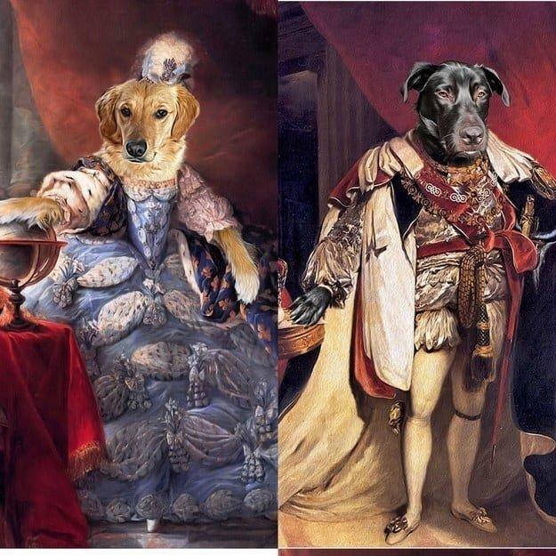 Ну и верх безумства! Собаки, написанные как Мария Антуанетта и Наполеон!!! животные, интересное, сладкая жизнь, собаки, фото, шик, юмор