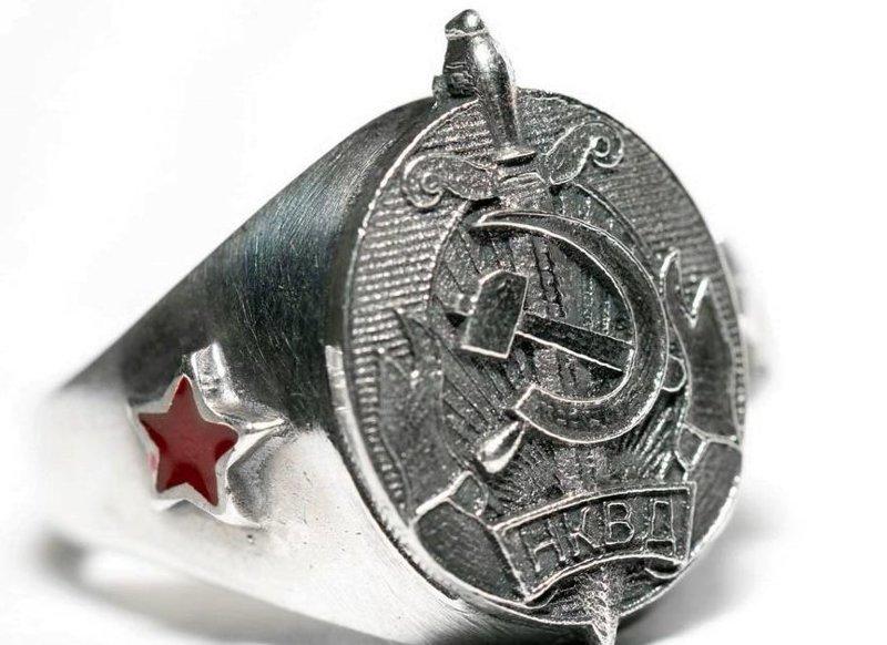 Современные реплики по мотивам символики НКВД. Красной Армии, СССР, кольца, перстни