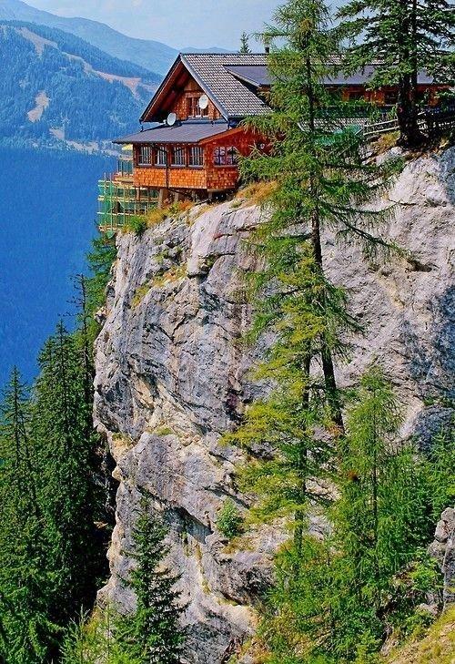 Австрия дом, интересное, красиво, обрыв, строения