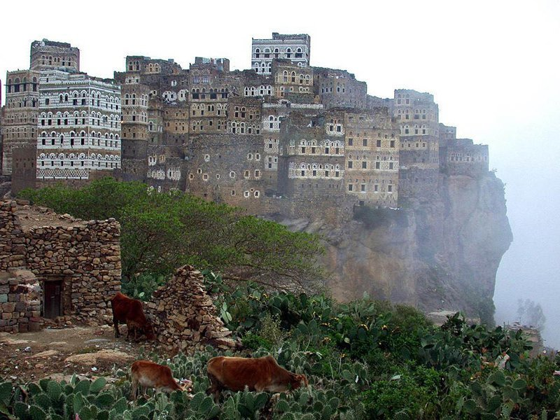 Аль-Хаджара, Йемен. Жизнь на краю обрыва дом, интересное, красиво, обрыв, строения
