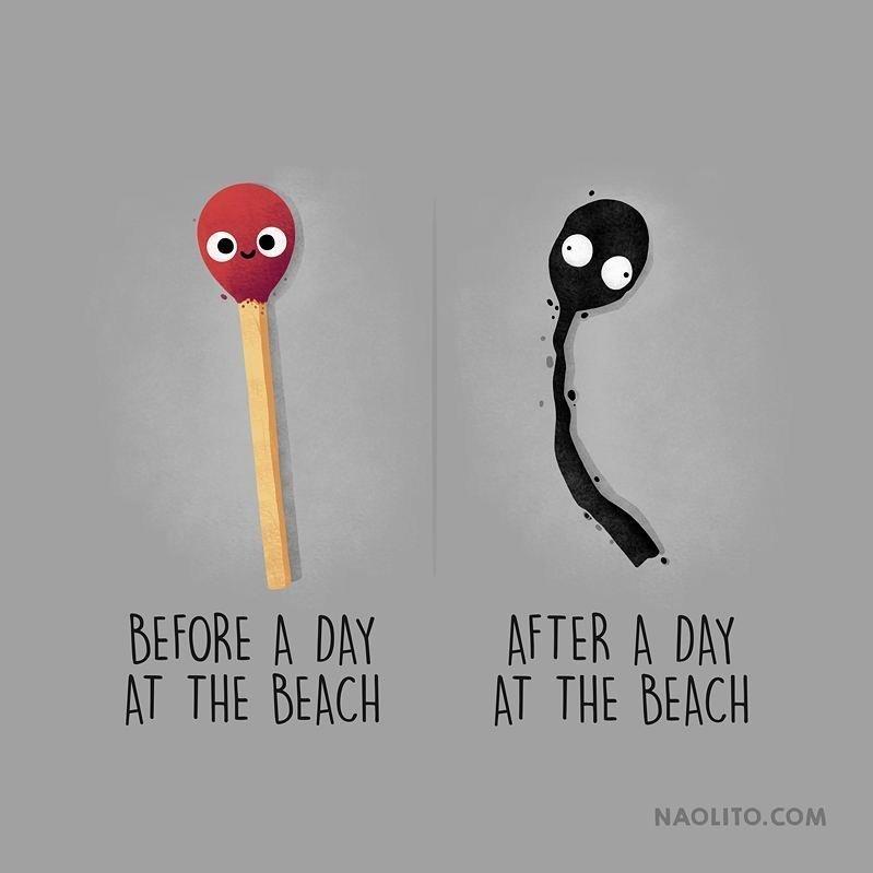 15. До и после дня, проведенного на пляже  naolito, забавно, иллюстратор, мини-комиксы, начо диаз, художник, юмор