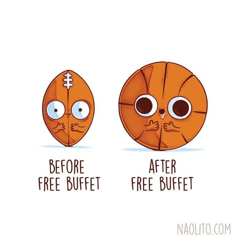 4. До и после бесплатного буфета  naolito, забавно, иллюстратор, мини-комиксы, начо диаз, художник, юмор