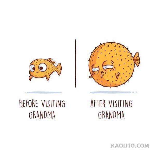 5. До и после визита к бабуле  naolito, забавно, иллюстратор, мини-комиксы, начо диаз, художник, юмор