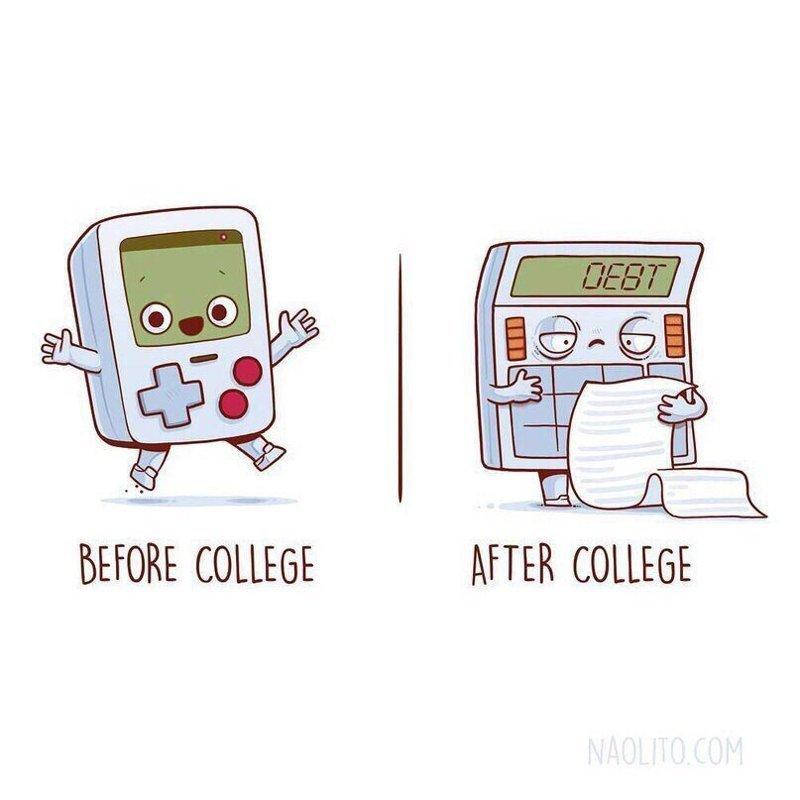 11. До и после университета  naolito, забавно, иллюстратор, мини-комиксы, начо диаз, художник, юмор