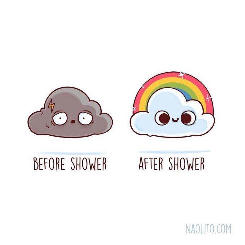 9. До и после того, как сходил в душ  naolito, забавно, иллюстратор, мини-комиксы, начо диаз, художник, юмор