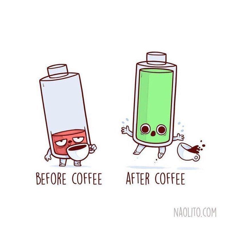 7. До и после кофе  naolito, забавно, иллюстратор, мини-комиксы, начо диаз, художник, юмор