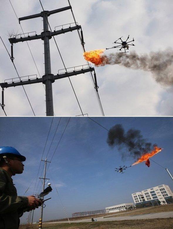 Китайская энергетическая компания начала использовать дроны, чтобы сжигать мусор, застрявший в проводах КВАДРОКОПТЕРЫ, будущее уже наступило, гаджеты, коптеры, мультикоптеры, прикол, юмор
