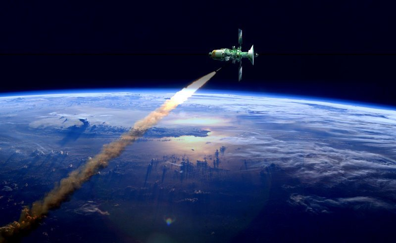 С-500 сбивает военный спутник противника (художество автора) ))) Роcсия, пво, прометей