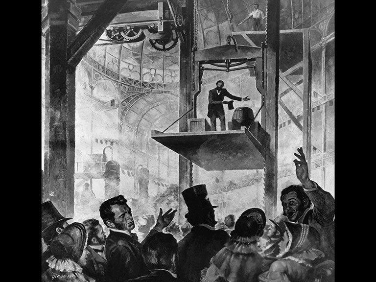 8. Первый лифт, представленный Отисом в 1853 году в Нью-Йорке, и современный лифт время, изменения, история, новые разработки, прогресс, сообразительность