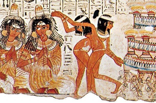 Танцовщицы и музыканты Роспись из гробницы вельможи Небамона. XVв. до н.э. Новое царство  древний египет, интересно, история