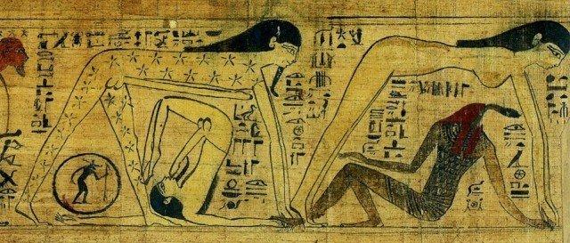 Ну и приходится Гебу крутиться... по всякому, чтобы удовлетворить свою похоть при виде желанной жены сверху. Затейник еще тот, как видите.  Папирус жрицы Хентуттауи. ХХ в. до н.э  древний египет, интересно, история