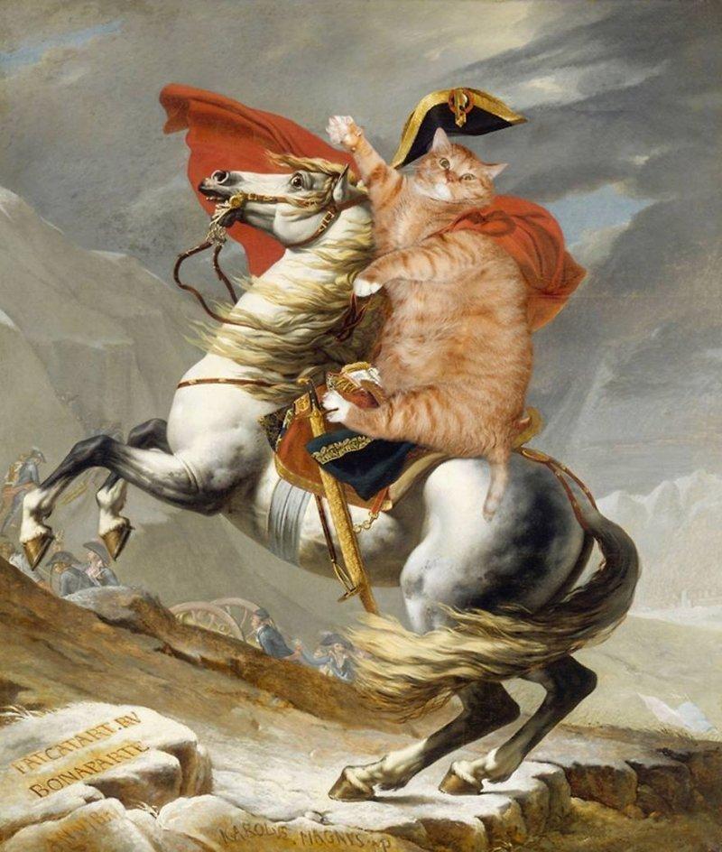 30 известных картин, где главной фигурой удачно вписался рыжий толстый кот живопись, забавно, картины, кот, прикол, рыжий кот