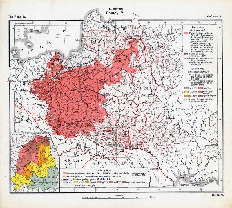 Карта из польского географическо-статистического Атласа 1918 год, Карты мира, карты, карты 1918 года, карты XX века, сто лет назад