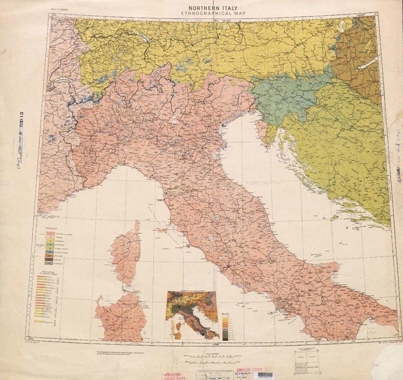 Карта Северной Италии, 1918 г. 1918 год, Карты мира, карты, карты 1918 года, карты XX века, сто лет назад