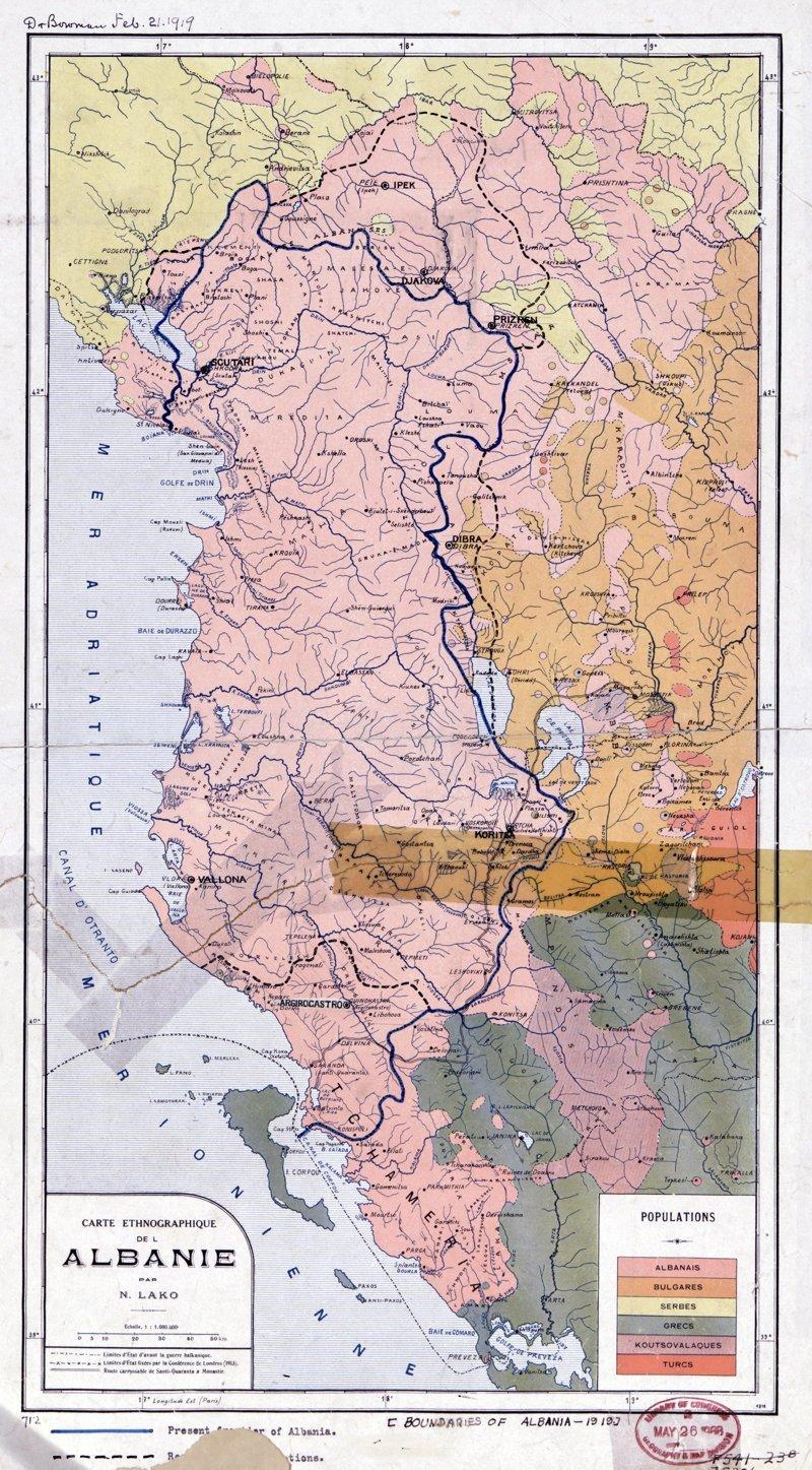 Этнографическая карта Албании, конец 1918 - начало 1919 года 1918 год, Карты мира, карты, карты 1918 года, карты XX века, сто лет назад
