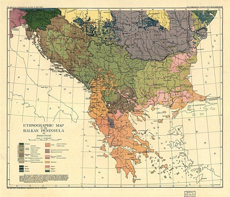 Этнографическая карта Балкан, 1918 г. 1918 год, Карты мира, карты, карты 1918 года, карты XX века, сто лет назад