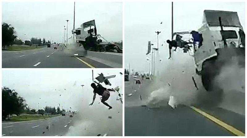 Видео: водителя грузовика вышвыривает из кабины в момент жуткой аварии ynews, авария, авто  дтп, врезался, вылетел из машины, грузовик занесло, ремень безопасности, таиланд
