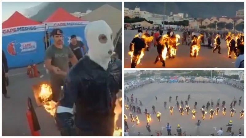«Aardens ignis»: 32 человека одновременно загорелись в Кейптауне ynews, видео, интересное, кейптаун, книга рекордов, огонь, рекорд, сожжение