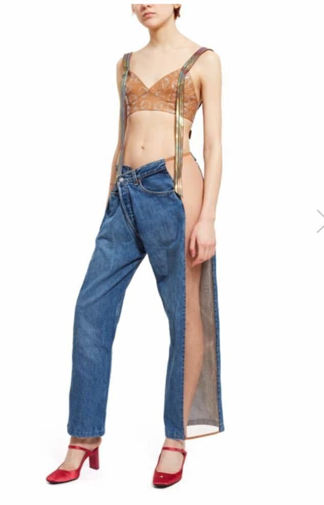 В продаже появились новомодные джинсы с прозрачными вставками по бокам, которые носят без белья trend, джинсы, дизайнеры, мода, модные новинки, одежда, странно, странные вещи