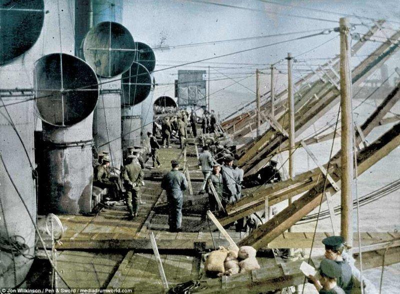 Палуба HMS Vindictive война, история, колоризация, колоризированные фото, первая мировая война, ретро фото, старые фотографии, фото