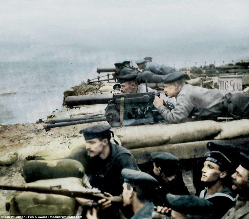 Немецкая морская пехота на бельгийском побережье война, история, колоризация, колоризированные фото, первая мировая война, ретро фото, старые фотографии, фото