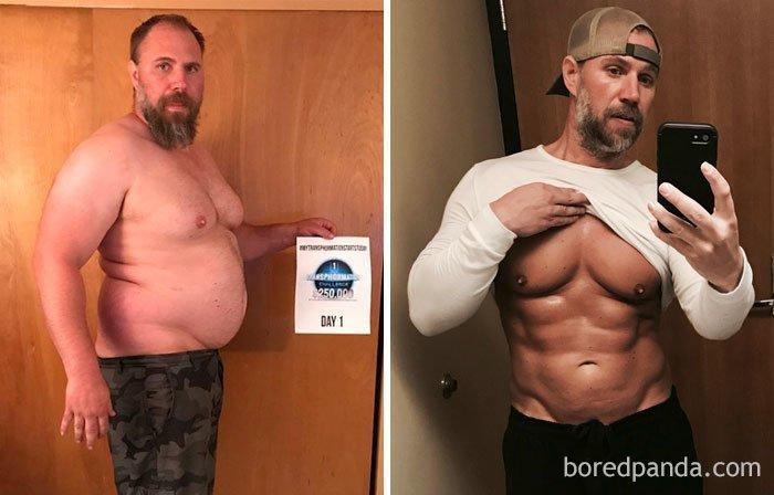 Отец троих детей трансформировал себя до неузнаваемости за 6 месяцев до и после, лишний вес, люди, мотивация, спорт, тогда и сейчас, трансформации, фото