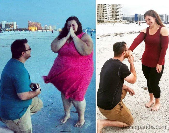 """""""200 кг и 82 кг - он любит меня одинаково. Любви не страшны размеры"""" до и после, лишний вес, люди, мотивация, спорт, тогда и сейчас, трансформации, фото"""