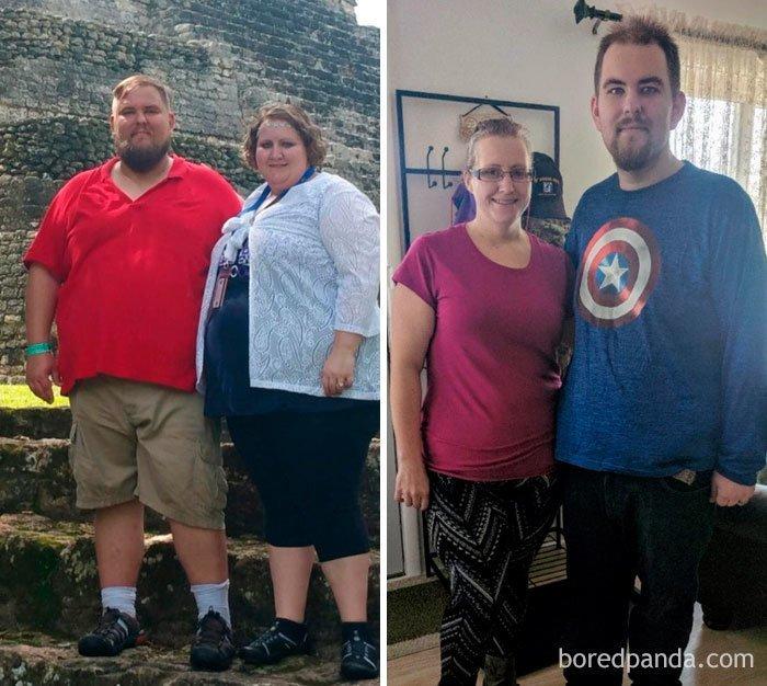 Семейная трансформация. Похудели на 142 кг на двоих. до и после, лишний вес, люди, мотивация, спорт, тогда и сейчас, трансформации, фото