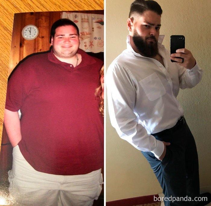 217 кг и 99 кг до и после, лишний вес, люди, мотивация, спорт, тогда и сейчас, трансформации, фото