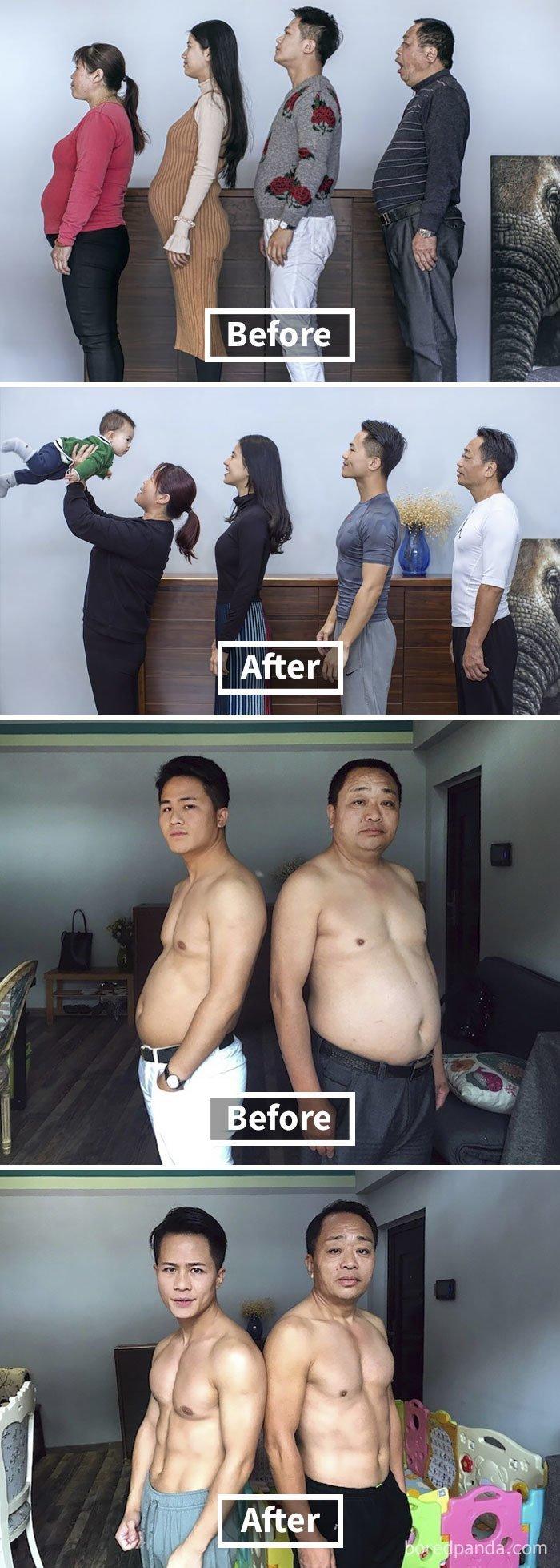 Китайская семья решила привести себя в форму. Результат через 6 месяцев. до и после, лишний вес, люди, мотивация, спорт, тогда и сейчас, трансформации, фото