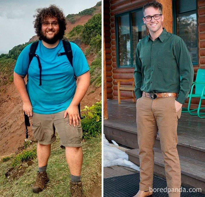 """""""Я прошел 11-мильную тропу Калалау за два дня, три дня отдыхал, два дня возвращался обратно. После этого решил, что пора что-то менять. Минус 61 кг - вот мой результат"""" до и после, лишний вес, люди, мотивация, спорт, тогда и сейчас, трансформации, фото"""