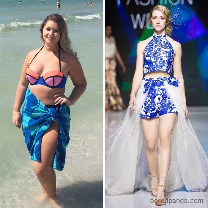 """""""40 кг за один год. В этом году я дефилирую на неделе моды в своем городе"""" до и после, лишний вес, люди, мотивация, спорт, тогда и сейчас, трансформации, фото"""