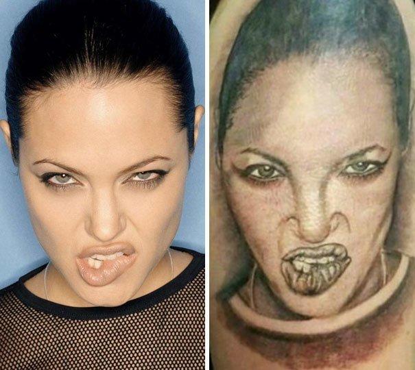 Портрет Анджелины Джоли нелепо, подборка, рисунки на теле, тату, татуировки, татуировщик, фейл, фото