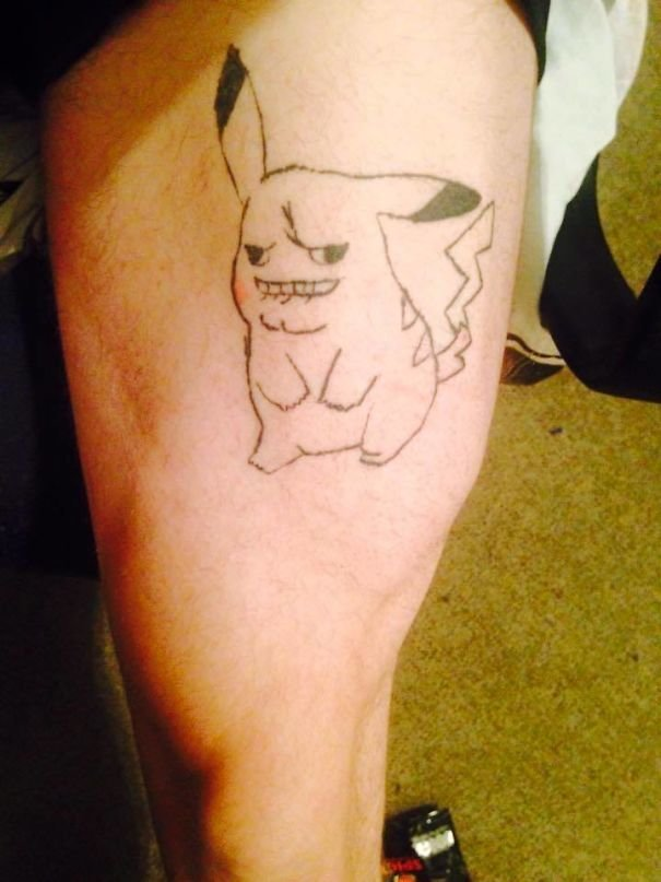 Пикачу, ты ли это? нелепо, подборка, рисунки на теле, тату, татуировки, татуировщик, фейл, фото