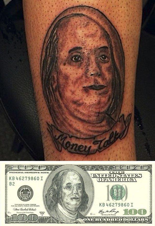 Попытка скопировать Бенджамина Франклина нелепо, подборка, рисунки на теле, тату, татуировки, татуировщик, фейл, фото