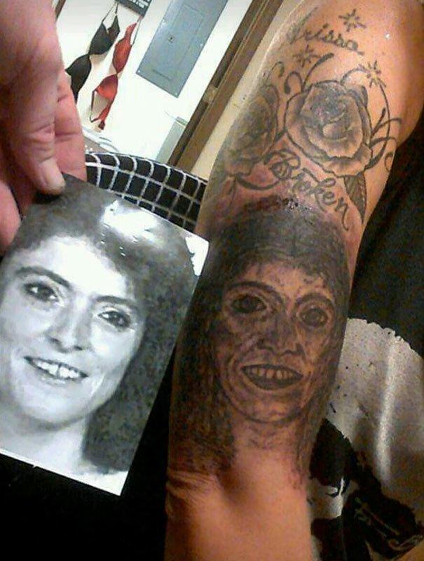 Портрет мамы нелепо, подборка, рисунки на теле, тату, татуировки, татуировщик, фейл, фото