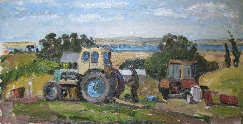 Трактор и живопись город, живопись, искусство, картина, трактор, эстетика
