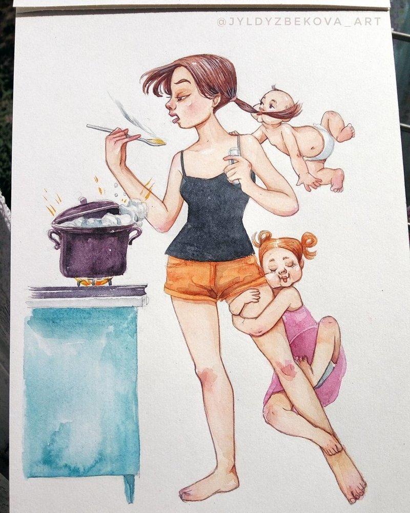 Мама с 2 детьми смешные картинки