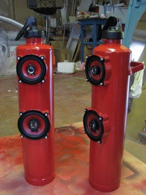 1. Колонки авто, идеи использования, огнетушитель, своими руками, фото