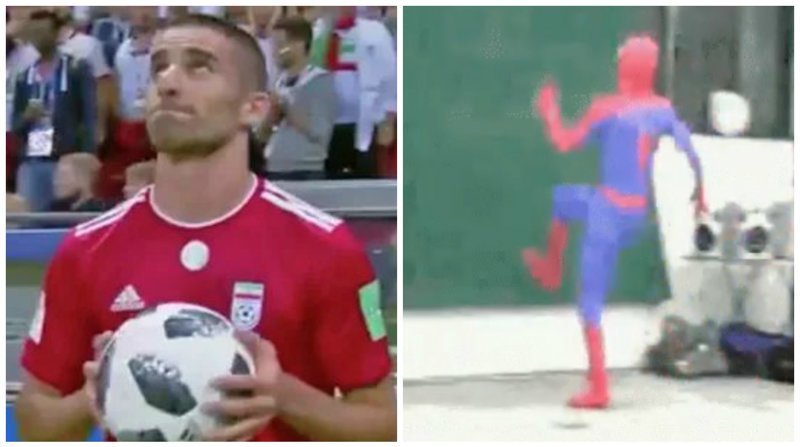 Иранский футболист исполнил некий ритуал перед аутом, и тут же стал мемом ynews, аут, прикол, футбол, футболист, чм-2018, юмор