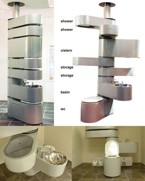 Сверху вниз, душ, сливной бачок, место для хранения, раковина, унитаз Фабрика идей, дом, кухня. пространство, приспособления, экономия