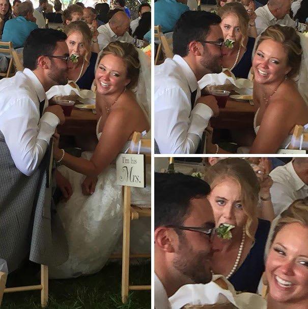Когда фотограф хотела заполучить хороший кадр жениха и невесты задний план, люди, прикол, умора, фото, юмор
