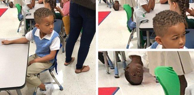 Фотографируя своего племянника в школе, женщина случайно засняла маленького проказника, которого вы сможете увидеть на заднем плане задний план, люди, прикол, умора, фото, юмор