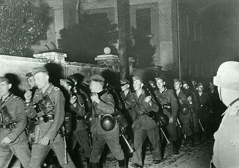 Колонна немецкой пехоты на марше в ночь с 22 на 23 июня 1941 г. Время съемки: 22.06.1941. Великая Отечественная  война, СССР, история