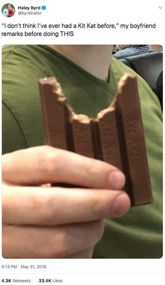 4. По словам этого мужчины, шоколадка такой и была – странной. мужчины и женщины, понять и простить, прикол, селфи, фото, шутка