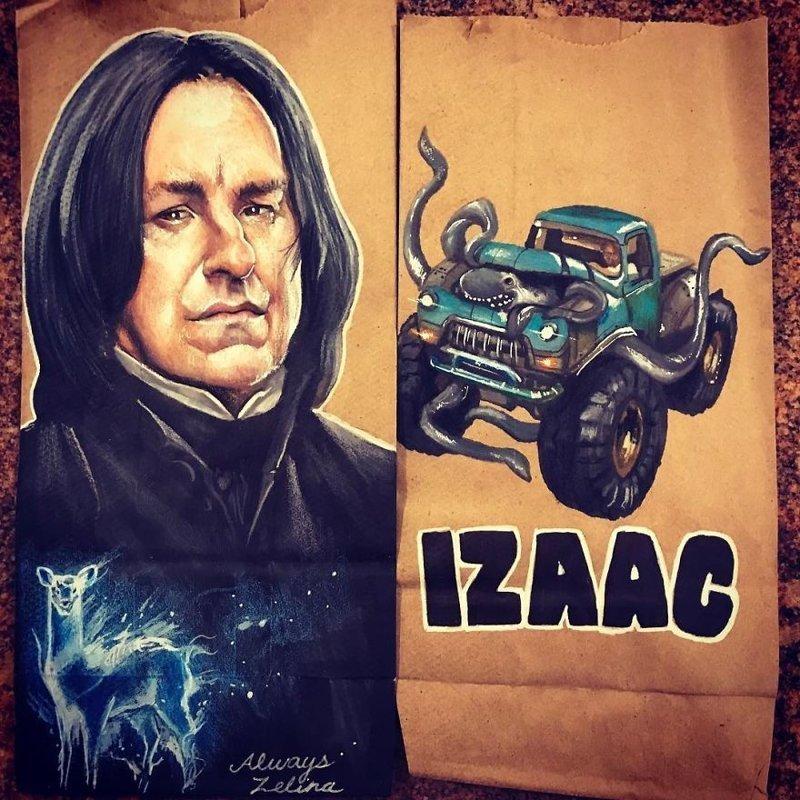 Папа стал художником, рисуя на пакетах для завтрака детские сумки, живопись, картинки для детей, папины картинки, сумки для ланча, творчество, художник, художник самоучка